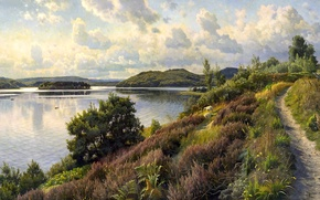 Картинка картина, тучи, Peder Monsted, овцы, деревья, тропинка, холмы, небо, река, пейзаж