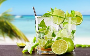 Картинка мохито, drink, mojito, пляж, lime, cocktail, море, коктейль, tropical, fresh, лайм
