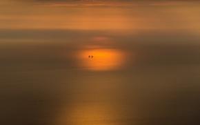 Картинка море, закат, минимализм
