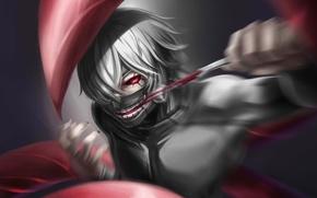 Картинка взгляд, глаз, замок, маска, когти, парень, жест, art, токийский гуль, упырь, tokyo ghoul, kaneki ken