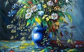 Картинка цветы, картина, лепестки, ваза, живопись, осыпаются