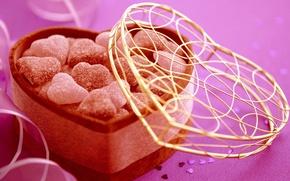 Обои праздник, подарок, сердце, конфеты, сердечки, сладости, Candy, Валентинка, День Святого Валентина, gift, holiday, sweets, Valentines ...