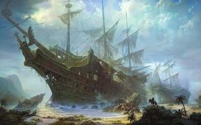 Картинка море, обломки, пальмы, находка, конь, побережье, корабль, парусник, остов, арт, всадник, гигантский, караблекрушение