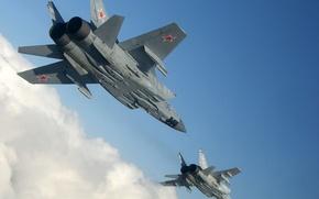 Картинка небо, высота, Истребитель, пара, полёт, ВВС, России, Перехватчик, МиГ-31, Микоян, Гуревич