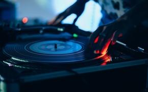 Обои винил, диджей, musical instrument, размытость, музыкальный, wallpaper., боке, звук свет огни, вертушки, scratching party, dj ...