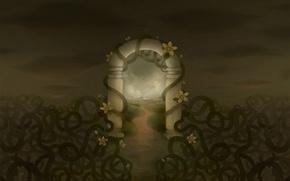 Обои рисунок, арка, закат