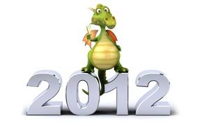 Картинка дракон, новый год, белый фон, 2012