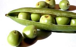Обои белый, еда, фон, стручок, яблоки, зелёный