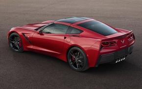 Картинка красный, Corvette, Chevrolet, Шевроле, вид сзади, Stingray, Корвет, Стингрей