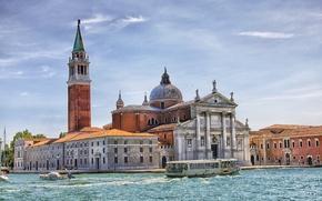 Картинка небо, катер, Италия, церковь, Венеция, канал, колокольня, Сан-Джорджо Маджоре