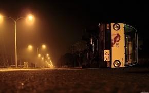 Обои дорога, авто, ночь, улица, фонари, Ситуации, обочина, овария