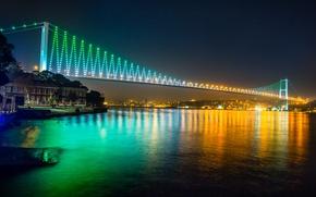 Картинка ночь, природа, city, город, lights, огни, здания, nature, Стамбул, Турция, night, Istanbul, buildings, turkey, Sea ...