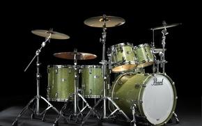 Картинка зеленый металлик, барабан, Pearl Reference. барабанная установка