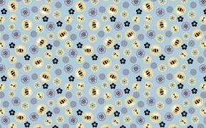 Картинка цветы, фон, текстура, арт, пчёлка