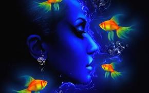 Картинка лицо, рыбка, текстура, профиль, холст