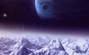Картинка lights, moon, mountains, planets, satellite, space ships, Sci Fi