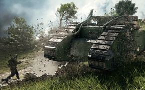 Картинка стена, война, игра, солдат, танк, таран, пехотинец, британский, тяжелый, Electronic Arts, Battlefield 1, Mark I