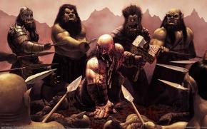 Картинка Кровь, Битва, Молот, CG Wallpapers, Steve Argyle, Dwarf Barbarian, Окружение, Дварф