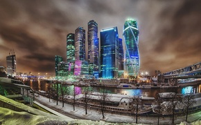 Картинка зима, дорога, снег, ночь, река, улица, обработка, Москва, Россия, road, Russia, river, night, winter, snow, …