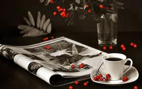 Картинка ягоды, чай, журнал