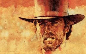Картинка портрет, актёр, цилиндр, Clint Eastwood