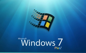 Обои windows, plus, лучи, логотип, seven
