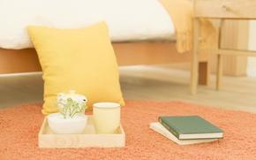 Картинка цветы, фото, настроение, обои, завтрак, утро, чашка, подушка, книга, спальня
