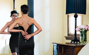 Картинка взгляд, девушка, спина, актриса, красавица, Emmanuelle Chriqui, Эммануэль Шрики