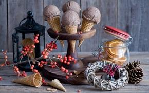 Картинка ягоды, апельсины, ветка, мороженое, фонарь, банка, натюрморт, шишки, вафли