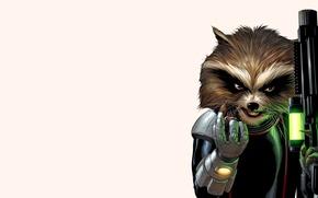 Картинка война, енот, бластер, Стражи Галактики, Guardians of the Galaxy