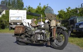 Картинка войны, мотоцикл, военный, Harley-Davidson, мировой, Второй, времён, WLA