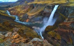 Обои река, водопад, поток, каньон, Исландия
