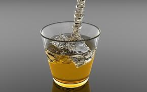 Обои стакан, лед, напиток