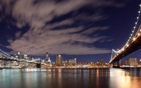 Картинка небо, облака, city, город, огни, вечер, панорама, нью-йорк, сша, new york, usa, бруклинский мост, brooklyn ...
