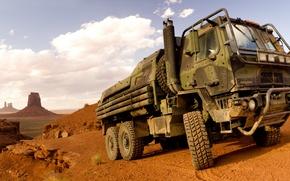 Картинка пустыня, грузовик, Oshkosh, Family of Medium Tactical Vehicles, FMTV