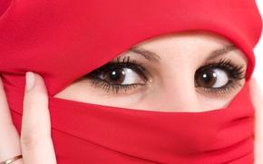Картинка глаза, взгляд, лицо, платок
