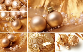 Картинка шарики, праздник, коллаж, золотой, бусины