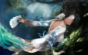 Картинка море, листья, вода, девушка, лицо, магия, веер, арт, зеленые, повязка, Laura Lukauskaite