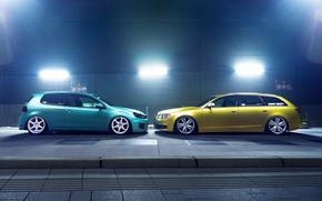 Картинка green, профиль, low, stance, canibeat, Audi A6, stancenation, Volkswagen Golf 6 GTI