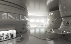 Картинка девушка, будущее, механизм, робот, арт, исследование, лаборатория, оборудование