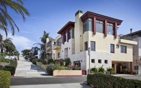 Картинка City, House, USA, Sky, Los Angeles, California, Wallpapers, Road, Window, Manhattan Beach, Palms, Multi-monitors