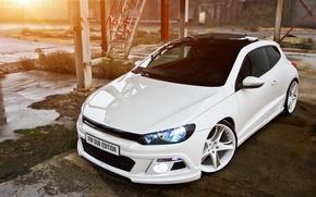 Обои белый, тюнинг, Volkswagen, Scirocco, Dub Edition tuned