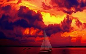 Обои птицы, Закат, дельфины, парусная лодка