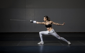 Обои woman, fencing, training