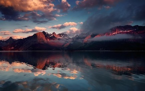 Картинка облака, снег, горы, природа, озеро