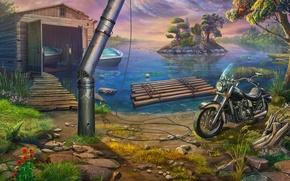 Картинка природа, Озеро, мотоцикл, катера