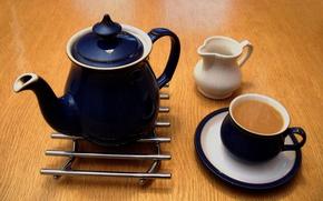 Картинка hot, Cup, milk, saucer, kettle, coffee with milk