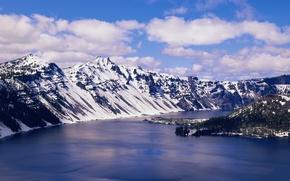 Картинка озеро, остров, Горы, хребет