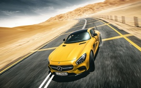 Обои mercedes-benz, amg, gt s, yellow, supercar, drifting, road, desert