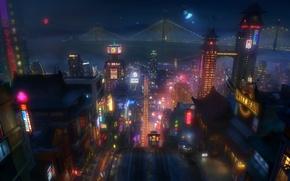 Картинка ночь, город, огни, мультфильм, Сан-Франциско, Disney, Дисней, Шестёрка героев, Big hero 6, Brave new heroes